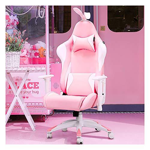 Silla de oficina giratoria, silla de juegos para ordenador, silla de juegos para casa Girl Pink Spiel Live Chair Rabbit Chair