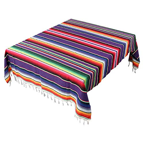 OurWarm Mexican Serape Tablecloth Fringe Cotton Mexican Blanket, Handwoven Fiesta Tablecloth for Mexican Party Cinco de Mayo Decorations, 84 x 59 Inch