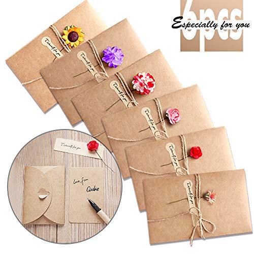 Grußkarte, Retro Kraftpapier-leere Umschläge Getrocknete Blumen Verzierte Postkarte Unbelegte Anmerkungs-Karten-Set für Weihnachten Geburtstag Valentinstag Muttertag(6 Stück)
