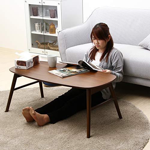 不二貿易センターテーブル折りたたみテーブル木製ウォルナット棚付き完成品100×50cmミディアムブラウン95780