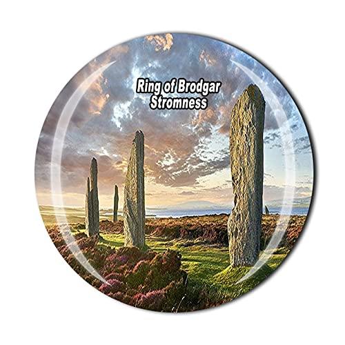 Anillo de Brodgar Stromness Escocia 3D Imán de nevera de cristal de recuerdo de cristal de recuerdo colección de recuerdos regalo para el hogar y la cocina