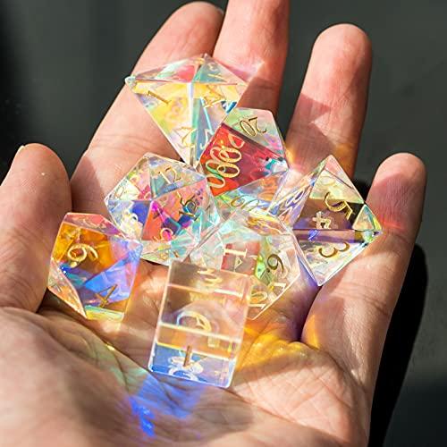 Set von 7 handgefertigten Glaswürfel, 16mm polyedralem Würfelsatz, Edelsteinwürfel für Sammlung - Weiß transparent