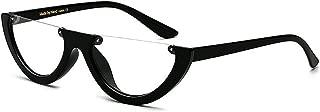 Stylish Glasses Women's Sunglasses Retro Punk Style Semi-Rimless for Women Small Plastic Frame PC Lens Sunglasses Unisex UV Protection Classic Lady's Sunglasses Clothing Accessories (Color : Clear)