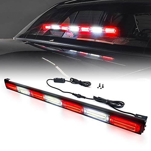 Xprite 31 Inch Red and White COB Traffic Advisor Strobe Lights Bar w/ 21 Flash Patterns, Hazard Warning Directional Flashing Fire Firefighter LED Light for Emergency Vehicles Trucks