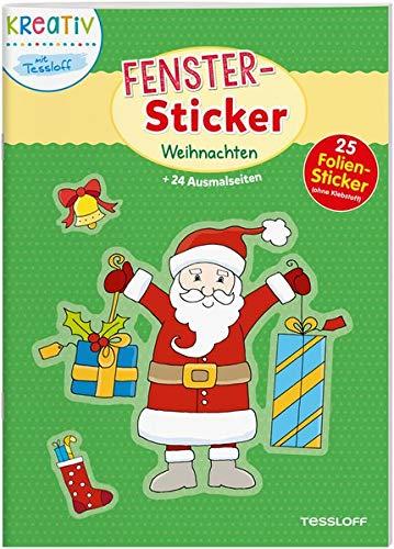 Fenster-Sticker Weihnachten: 24 Ausmalseiten, 25 Folien-Sticker