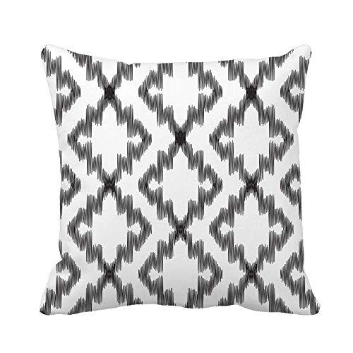 N\A Throw Pillow Cover Pattern Ikat Damask Turco Marroquí Étnico Negro Vintage Blanco Funda de Almohada Funda de Almohada Cuadrada Decorativa para el hogar Funda de cojín