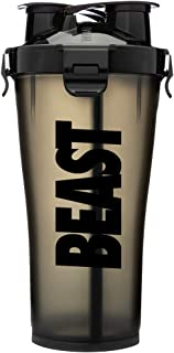 Hydra Cup - 36 oz High Performance Dual Shaker Bottle, 2 in 1, 14oz + 22oz, Leak Proof, Awesome Colors, Patented PRE + Protein Shaker Cup, Save Time & Be Prepared, Beast Black