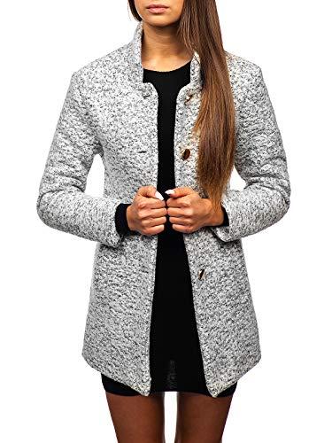 BOLF Mujer Abrigo De Invierno Abotonado Sencilla Cuello Elevado Estilo Elegante AAA 6011-1 Blanco One Size [D4D]