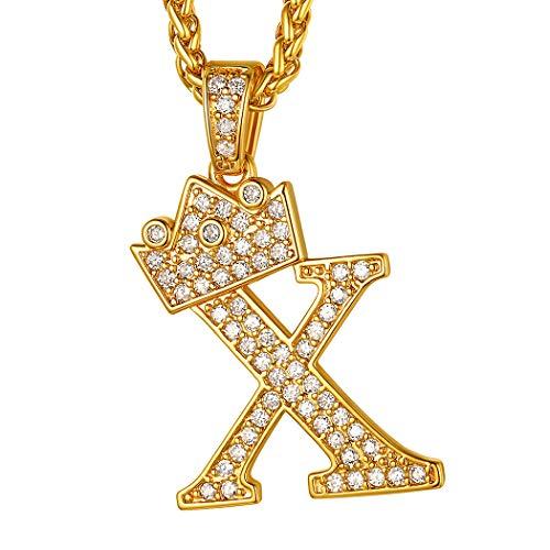 Suplight Regalo Cumpleaños X Letra Primera de Nombre Collar Dorado de Mujer Hip Hop Corona Reina Cadenas Antialérgicas Latón Chapado en Oro 18k Joyerías Preciosas para Parejas