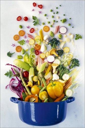 Posterlounge Acrylglasbild 20 x 30 cm: Gemüse fällt in einen Topf von Science Photo Library - Wandbild, Acryl Glasbild, Druck auf Acryl Glas Bild