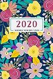 Agenda Semana Vista: Diaria de 12 Meses | Semanal y Mensual | Calendario Planificador Organizador | Formato A5 | Diseño Flores - Azul Marino (Enero a Diciembre 2020)