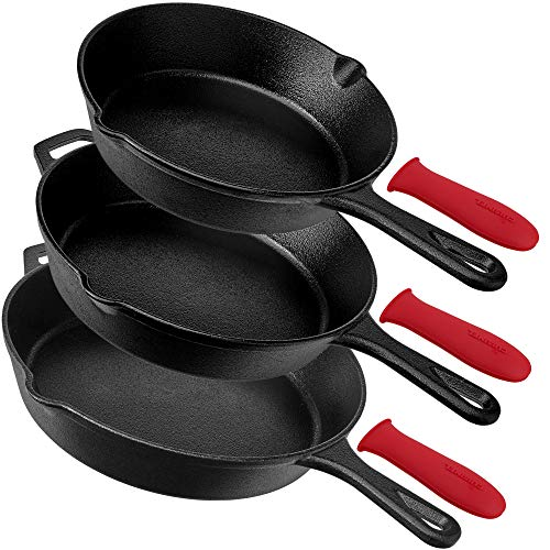 Pre-Seasoned Cast Iron Skillet 3-Piece Chef Set (8-Inch, 10-Inch, 12-Inch) Oven Safe Cookware - 3 Heat-Resistant Holders - Indoor & Outdoor Use - Grill, StoveTop, Black
