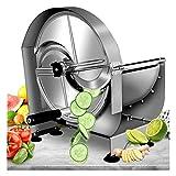 NEWTRY Commercial Vegetable Slicer Shredder Fruit Slicer 0-12mm (15/32inch) Thickness Adjustable with 2 Blades Stainless Steel for Potato/Lemon/Ginger
