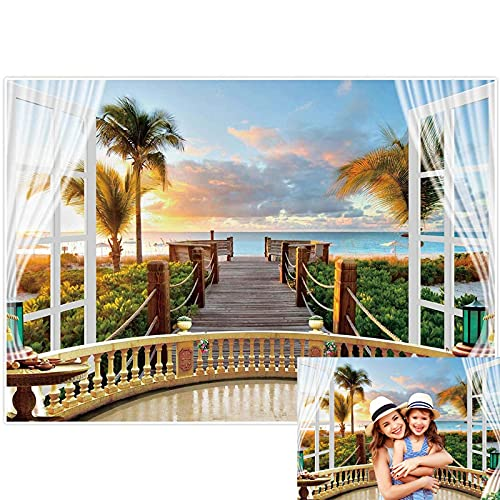 Allenjoy 7x5ft Tropical Seaside Scenery Backdrop Aloha Hawaiian Sunset Beach Background for Holiday Wedding Party Photography Banner Balcony Wooden Bridge Railing Palm Trees Decor Photo Booth Props