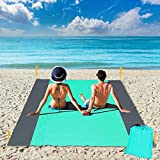 FUNPENY Beach Blanket, Extra Large 78.8'x82.6' Waterproof Lightweight Durable Outdoor Sand Proof Mat Sand Falls Through for Travel, Picnic, Holiday Trip, Pool Party(Green)