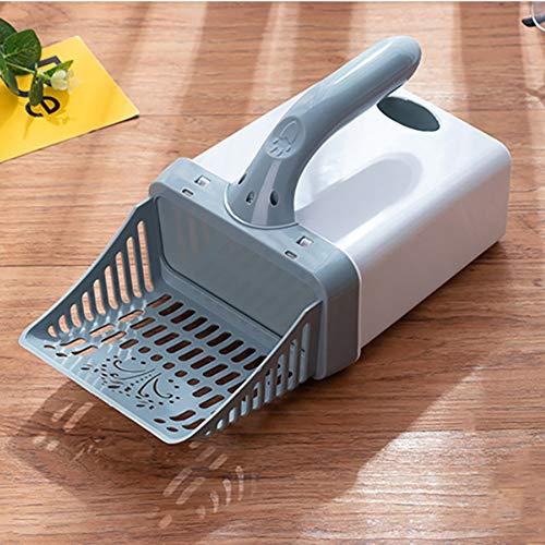 swiftrans Pet Cat Litter Shovel Cat Feces Shovel Integrated Removable Cat Feces Shovel with Hanging Hook Trash Bag Dispenser