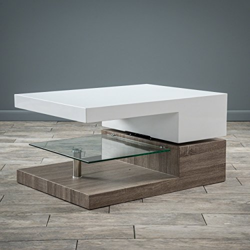 Christopher Knight Home Emerson Rectangular Mod Swivel Coffee Table w/Glass