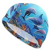 Bxfdc Gorro de baño para Acuario, delfín, Peces y Algas, mar Azul, Gorro de baño Transpirable, Gorro de baño de poliéster, Gorro de natación elástico para Unisex