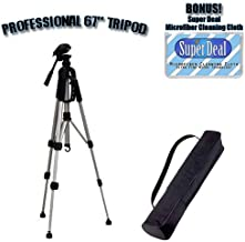 PROFESSIONAL 67 Inch Full Size Tripod with Carrying Case For The Panasonic SR-S100, SDR-S150, AG-HPX170, AG-HMC70, AG-HPX500, Pro AG-HMC150, SVAV100, SVAV30, SVAV50 Camcorders with Exclusive FREE Complimentary Super Deal Micro Fiber Lens Cleaning Cloth