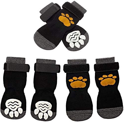 SCIROKKO 3 Pairs Anti-Slip Dog Socks - Adjustable Pet Non-Slip Paw Protection with Golden Paw Pattern for Puppy Doggy Indoor Traction Control Wear on Floor