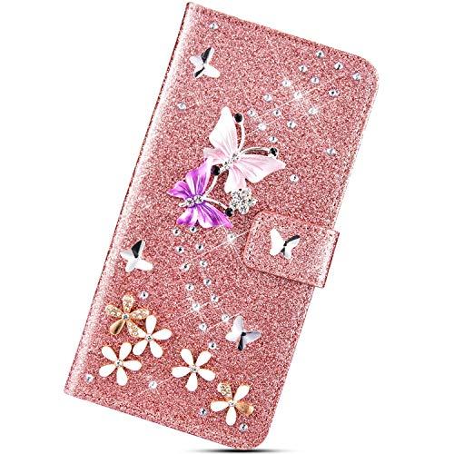 Urhause Glitters Cover Compatibile con Samsung Galaxy S6 Edge Farfalla Brillantini Strass Diamante Bling Custodia in Pelle Libro Flip Portafoglio PU Slot per Schede Kickstand Protettiva Case,Oro Rosa