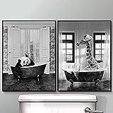 OKYQZ Tier in der Kunst Malerei Badewanne Poster Druck