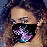 Blingko Damen Mundschutz Schwarz Waschbar stoff Mund und Nasenschutz mit Schmetterling Motiv Wiederverwendbar Atmungsaktive Baumwolle Gesichtsschutz Halstuch für Outdoor Sport (D)