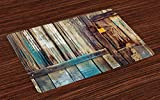 Ambesonne Rustic Place Mats Set of 4, Aged Shed Door Backdrop with Color Details Country Living Exterior Pastoral Mansion Image, Washable Fabric Placemats for Dining Room Kitchen Table Decor, Brown