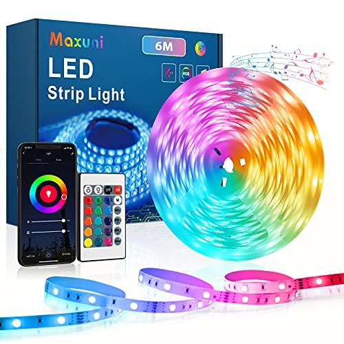Striscia Led 6M, Maxuni Led Striscia di Illuminazione Controllata da App Bluetooth, RGB Luminose Luci Led Colorati Sincronizza con la Musica Adatto per Camera da Letto, TV e ecc