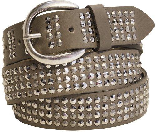Vanzetti - Cinturón con tachuelas plateadas, color gris claro (Ropa)