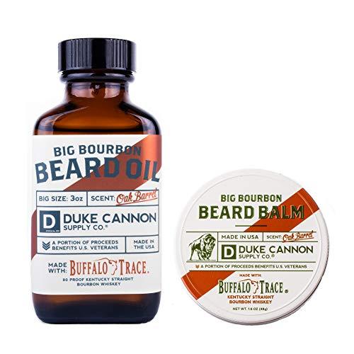 Duke Cannon Big Bourbon Beard Bundle Set: Best Beard Oil, 3oz and Beard Balm, 1.6oz / Made with Natural and Organic Ingredients