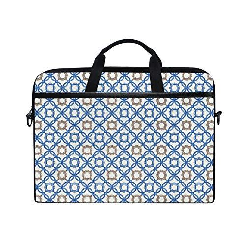 VICAFUCI New 15-15.4 Zoll Laptop Tasche,Umhängetasche,Handtasche,Altes Delfter Blau-Muster Verwickelte alte niederländische Fliesen-Motive