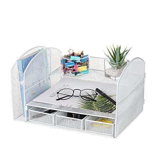 Vanra, organizer da scrivania in metallo, con porta riviste, 2 strati e 3 cassetti per carta A4, penne, libri, quaderni, bianco