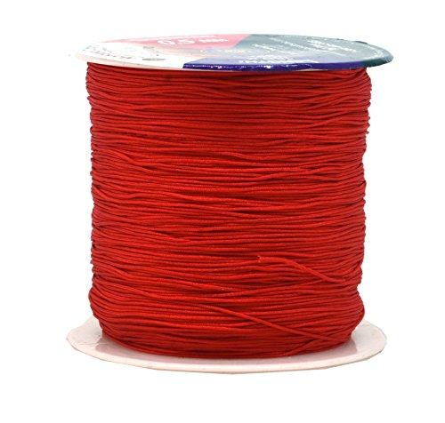 Mandala Crafts Nylon Satin Cord, Rattail Trim Thread for Chinese Knotting, Kumihimo, Beading, Macramé, Jewelry Making, Sewing (0.5mm 164 Yards, Red)