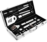 Zaveti Professional BBQ Grill Kit 16-Piece Stainless Steel Barbecue Tool Set | Heavy Duty Grilling Utensils in Portable Aluminum Storage Case | Dishwasher Safe | Ideal Gift