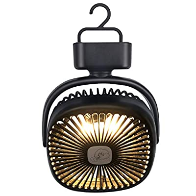 REENUO Tent Fan with Camping Lantern, Rechargeable 5000mAh Battery Operated Portable Camping Fan, Hurricane Emergency Survival Kit (Max Working Time 40 Hours)