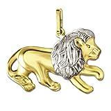 CLEVER SCHMUCK Goldener Anhänger großer Löwe 13 x 23 mm beidseitig plastische Form Bicolor glänzend 333 Gold 8 Karat 333