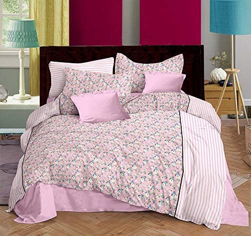 Trance Home Linen 100% Cotton 200TC Printed King Double Fitted Bedsheet with 2 Pillow Covers-Pink Blue Floral