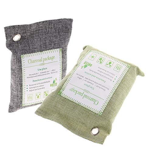FANMENGY 2 x 200 g – Desodorizador de carbón neutralizador de olores para el hogar y el coche, bolsas de bambú orgánico activado para purificar aire