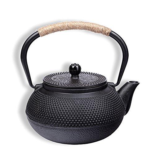Schramm® Gusseisen Teekanne 900ml emailliert Asiatische Tee Kanne Kannen Teekessel Japanischer Stil inkl.Teesieb schwarz Noppenstruktur