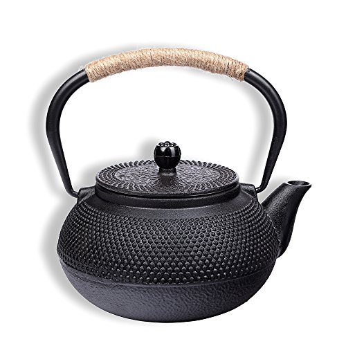 Schramm® gietijzeren theepot 900ml geëmailleerde Aziatische theepot theepot Japanse stijl incl.theezeef zwarte burled structuur