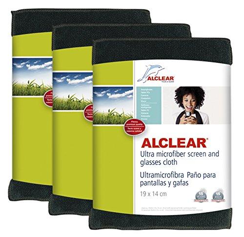 ALCLEAR 950003a_3 - Paños de ultramicrofibra para Pantallas (3 Unidades), Color Negro