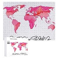 INOV 場所彼女はピンク 水彩画 世界地図 ジグソーパズル 木製パズル 500ピース キッズ 学習 認知 玩具 大人 ブレインティー 知育 puzzle (38 x 52 cm)