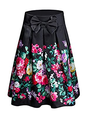 CHOiES record your inspired fashion Women's Black/Green/White/Blue Sakura Skater Skirt With Pleat