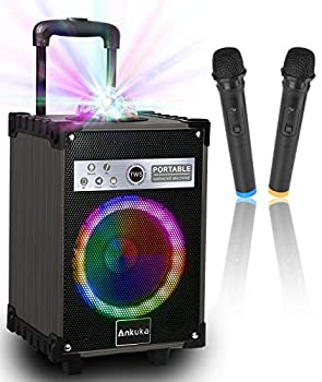 Karaoke Machine for Adults and Kids Ankuka Bluetooth Portable PA Speaker System with Disco Lights 2 Wireless Microphones for Christmas & Birthday Gift for Boy & Girls