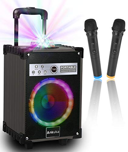 Karaoke Machine for Adults and Kids, Ankuka Bluetooth Portable PA Speaker System with Disco Lights, 2 Wireless Microphones for Christmas & Birthday Gift for Boy & Girls