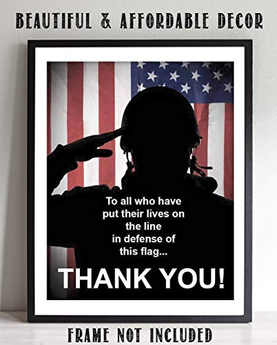 'To All Who Have Defended This Flag-Thank You'- 8 x10' Patriotic Wall Decor Print-Ready To Frame. USA Military Poster- Decor for Home-Office-Shop-Restaurants. Display Your Appreciation For Military.