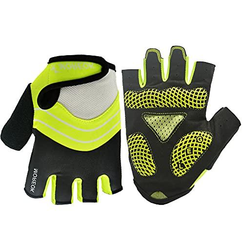 Guantes Deportivos de Medio Dedo para Ciclismo de Carretera de montaña con protección UV para Hombres y mujeres-verde-M-D228