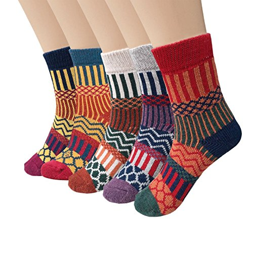 Justay Womens Thick Knit Warm Casual Wool Crew Winter Socks, Mixed Colors 5, Pack of 5, One Size