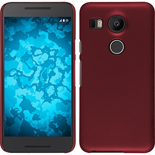 PhoneNatic Case kompatibel mit Google Nexus 5X - Hülle rot gummiert Hard-case + 2 Schutzfolien